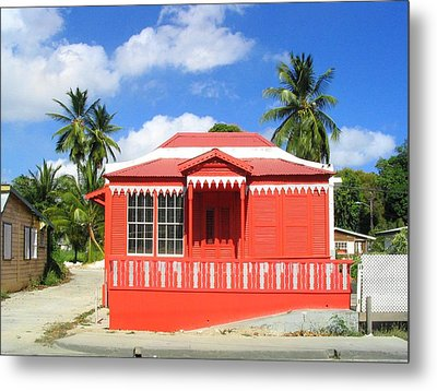 Red Chattel House Metal Print by Barbara Marcus