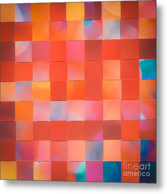 Metal Print featuring the mixed media Red Check by Jan Bickerton