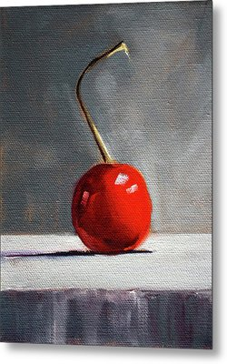Metal Print featuring the painting Red Cherry by Nancy Merkle