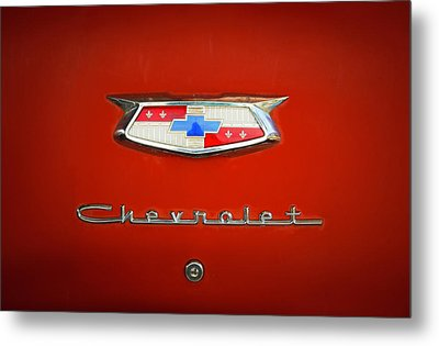 Metal Print featuring the photograph Red Chevy Bel-air Trunk by Marilyn Hunt