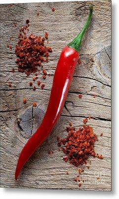 Red Chili Pepper Metal Print by Nailia Schwarz