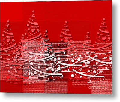 Red Christmas Trees Metal Print by Aimelle