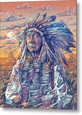 Red Cloud Decorative Portrait Metal Print