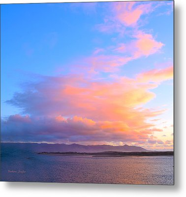 Red Clouds Over Morro Bay Small Metal Print by Barbara Snyder