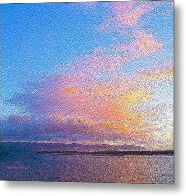 Red Clouds Over Morro Bay Small Painting Metal Print by Barbara Snyder