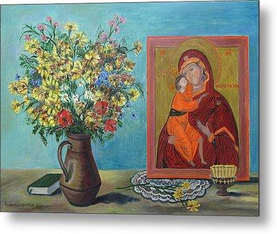 My Icon Orthodox Life Theotokos Mother Of God Metal Print by Katia Iourashevich Ricci