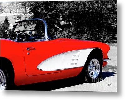 Red Corvette  Metal Print by Steven Digman