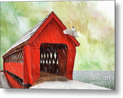 Red Covered Bridge In The Winter  Metal Print by L Wright