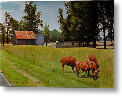 Red Cows On Grapevine Road Metal Print