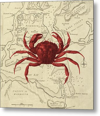 Red Crab Over Antique Sea Chart Metal Print