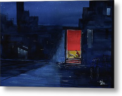 Metal Print featuring the painting Red Curtain by Anil Nene