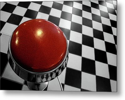 Red Cushion Stool Above Chequered Floor Metal Print by Peter Young