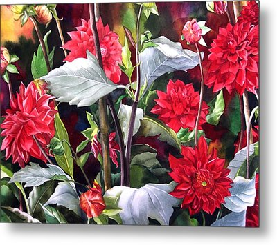 Metal Print featuring the painting Red Dahlias by Alfred Ng