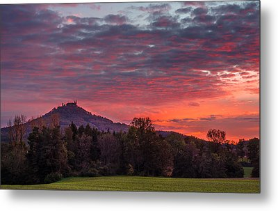 Red Dawn Over The Hohenzollern Castle Metal Print
