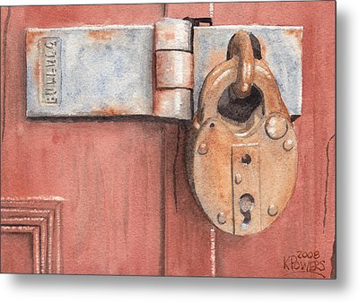 Red Door And Old Lock Metal Print by Ken Powers