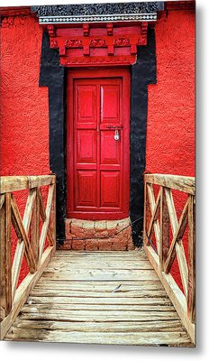 Metal Print featuring the photograph Red Door At A Monastery by Alexey Stiop