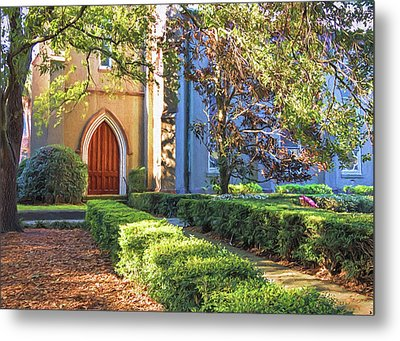 Metal Print featuring the photograph Red Door Church by Kim Hojnacki