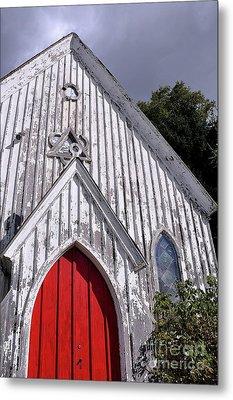 Red Door Metal Print by Gina Savage