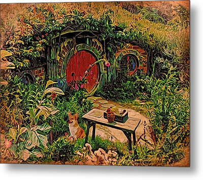 Red Door Hobbit House With Corgi Metal Print by Kathy Kelly