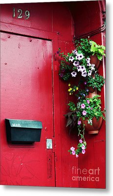 Red Door In Montreal Metal Print by John Rizzuto
