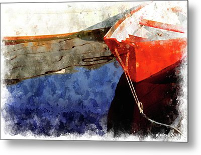 Red Dory Metal Print by Peter J Sucy