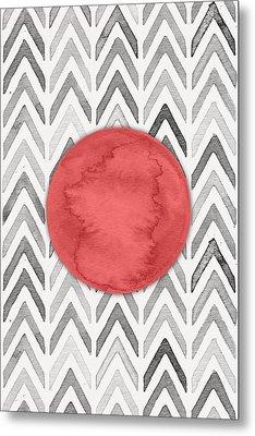 Red Dot On Chevron Watercolor Pattern  Metal Print