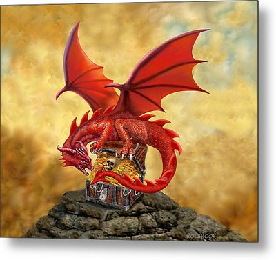 Red Dragon's Treasure Chest Metal Print