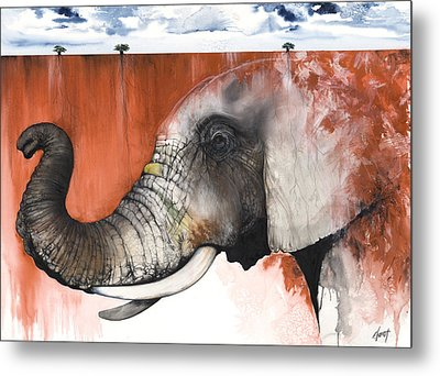 Red Elephant Metal Print by Anthony Burks Sr