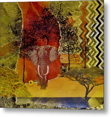 Red Elephant Metal Print by David Raderstorf
