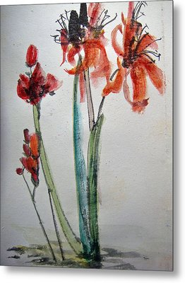 Metal Print featuring the painting Red Energy by Debbi Saccomanno Chan