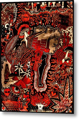 Red Existence Metal Print