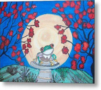 Metal Print featuring the painting Red Eyed Frog Singing To The Moon by Connie Valasco