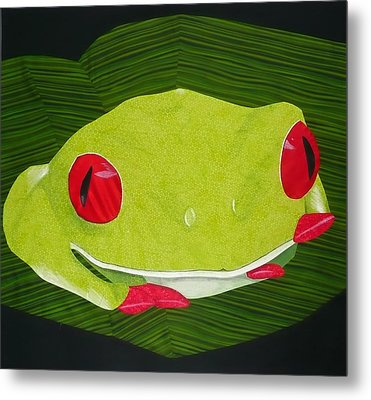 Metal Print featuring the tapestry - textile Red Eyed Tree Frog by Jo Baner