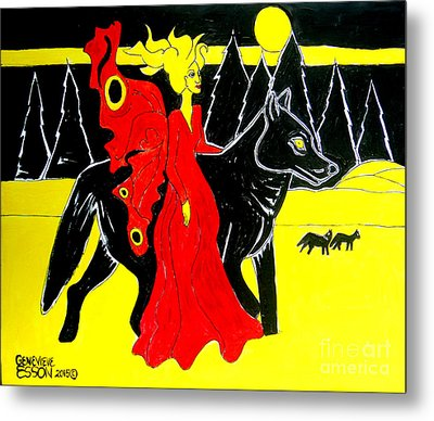 Red Faerie And Black Wolf With Yellow Moon Metal Print by Genevieve Esson