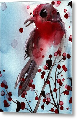 Red Finch In The Winterberry Metal Print by Dawn Derman