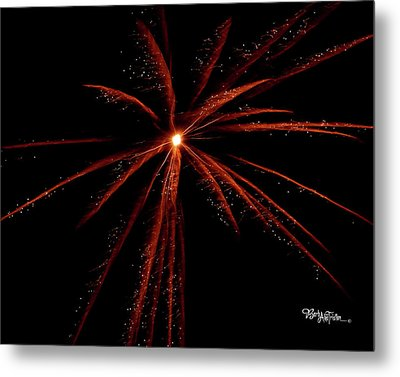 Metal Print featuring the photograph Red Fireworks #0699 by Barbara Tristan