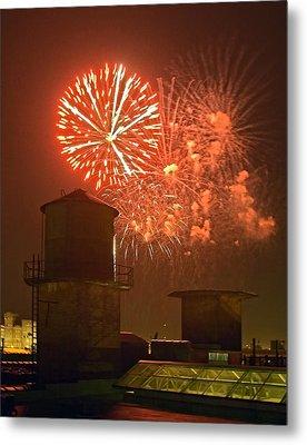 Red Fireworks Metal Print