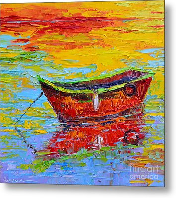 Red Fishing Boat At Sunset - Modern Impressionist Knife Palette Oil Painting Metal Print by Patricia Awapara