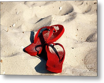 Metal Print featuring the photograph Red Flip Flops by John Rizzuto