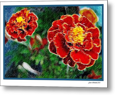 Metal Print featuring the photograph Red Flower In Autumn by Joan  Minchak