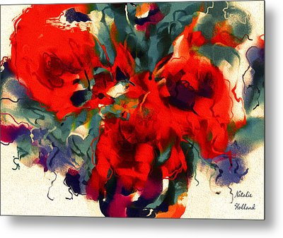 Red Flower Power Metal Print by Natalie Holland