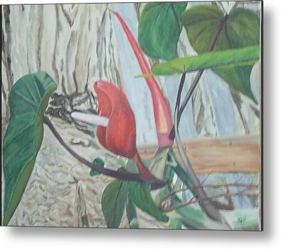 Metal Print featuring the painting Red Flowering Vine by Hilda and Jose Garrancho