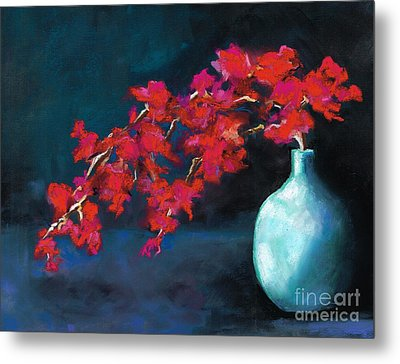 Metal Print featuring the painting Red Flowers by Frances Marino