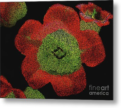 Metal Print featuring the digital art Red Flowers - Hand Painted Then Digitally Pointillized by Merton Allen