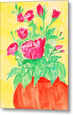 Red Flowers In A Brown Vase Metal Print by Jose Rojas