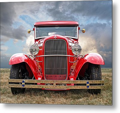 Red Ford Coupe Head On Metal Print