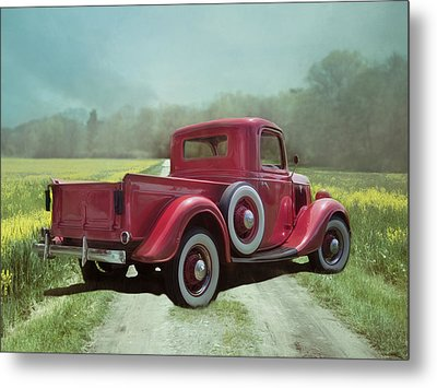 Metal Print featuring the photograph Red Ford Pick-up by Robin-Lee Vieira