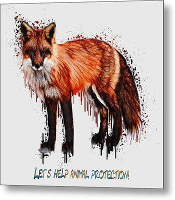 Red Fox In Tears Digital Painting Metal Print