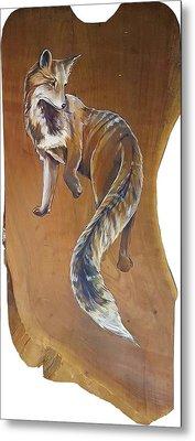 Red Fox On Cherry Slab Metal Print by Jacque Hudson