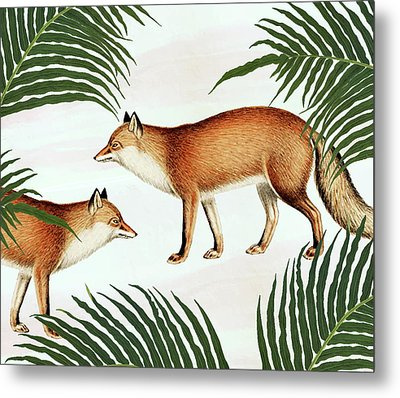 Red Fox Pair Metal Print
